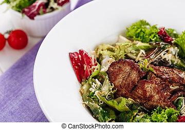 Juicy Roast Meat Loin Chop Greens Salad Top Lay