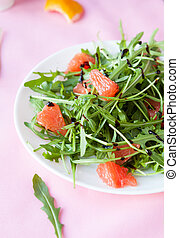 juicy salad with slices of grapefruit