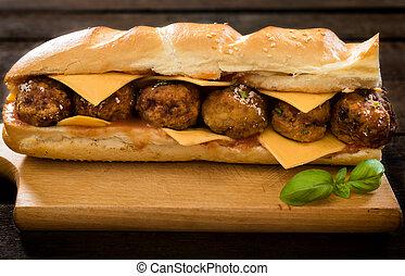 Juicy sandwich - Big and juicy meatball sandwich on the...