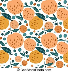Juicy seamless pattern with apples and leaves on white background.
