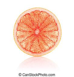 juicy segment grapefruit isolated on white background