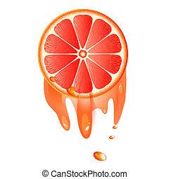 Juicy slice of grapefruit isolated on white background