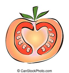 Juicy slice of tomato. Vector illustration, isolated on white.