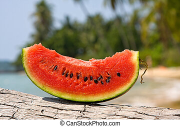 Juicy slice of watermelon against natural background