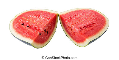 juicy slice of watermelon on a white background