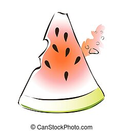 Juicy slice of watermelon. Vector illustration, isolated on white.