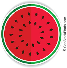 juicy sliced ??watermelon red green icon flat