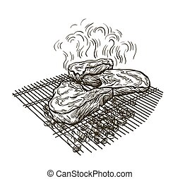 juicy steak fried on a grate on coals