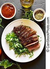 Juicy steak medium rare beef