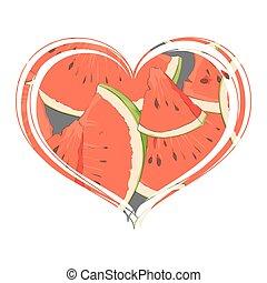 Juicy watermelon inside the heart - Favorite watermelon ...