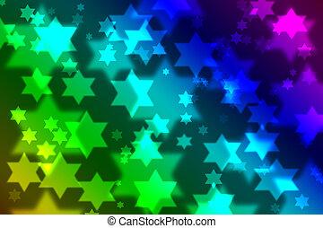 juif, bokeh, étoile, fond, célébration