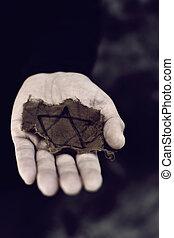 juif, déguenillé, écusson, homme