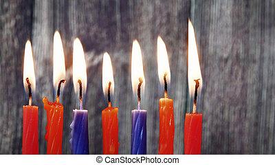 juif, hanukkah, bougies, fetes