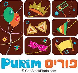 juif, heureux, vacances, purim