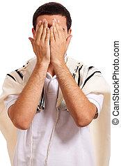 juif, homme, fermer, figure, à, sien, mains, quoique, prier