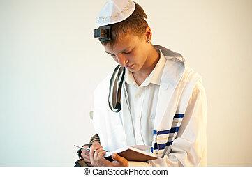 juif, homme, jeune, prières