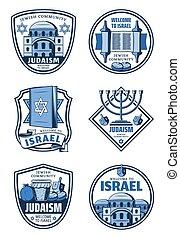 juif, israël, accueil, insignes, religion