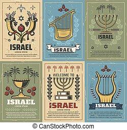 juif, israël, menorah, étoile, corne abondance, david