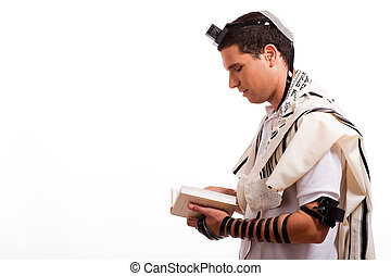 juif, jeune, livre, vue, côté, homme