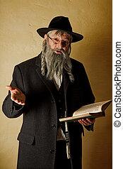 juif, livre, vieil homme