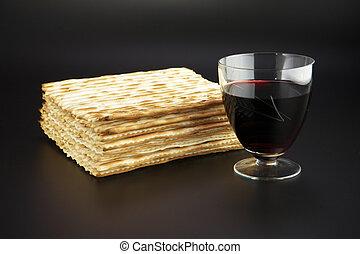 juif, religieux, fête, traditionnel, pâque, nourriture, matza, vin rouge