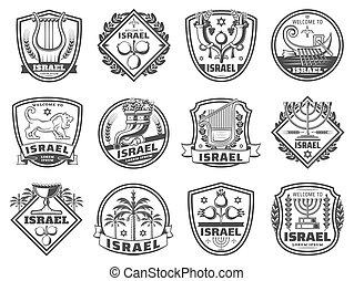 juif, religion, vecteur, icônes, monochrome