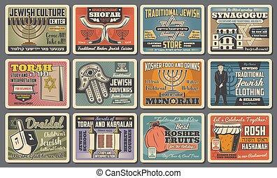 juif, symboles, religion, judaïsme, fetes