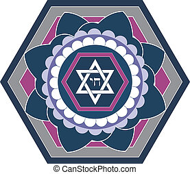 juif, -, vecteur, conception, étoile