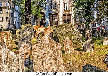 juif, vieux, prague, cimetière