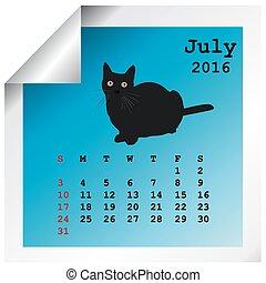 juillet, 2016, calendrier