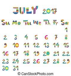 juillet, 2017, calendrier