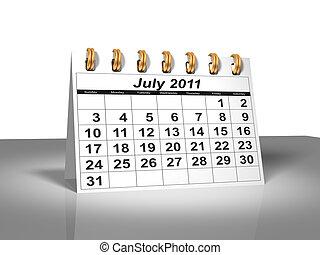juillet, calendar., bureau, 2011.