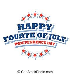 juillet, heureux, logo, quatrième, amérique