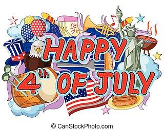 juillet, heureux, quatrième, griffonnage, fond