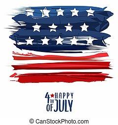 juillet, heureux, vecteur, conception, quatrième, patriotique, affiche