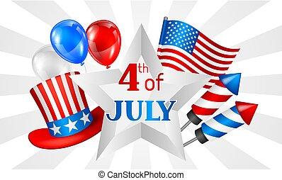 juillet, indépendance, quatrième, illustration, américain, patriotique, banner., jour