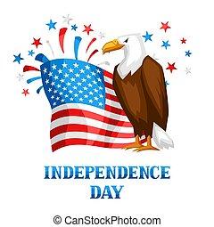 juillet, indépendance, quatrième, jour, print.