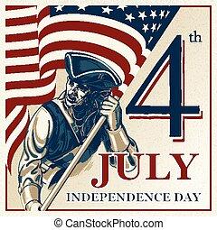 juillet, -, vecteur, indépendance, quatrième, vendange, jour, illustration