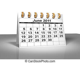 juin, calendar., bureau, 2011.