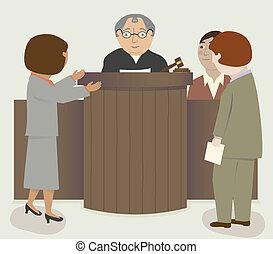 juiz, advogados, sala audiências