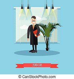juiz, apartamento, estilo, vetorial, ilustração