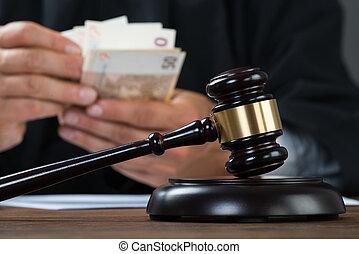 juiz, dinheiro, contagem, tabela
