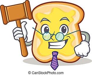 juiz, fatia, personagem, caricatura, pão