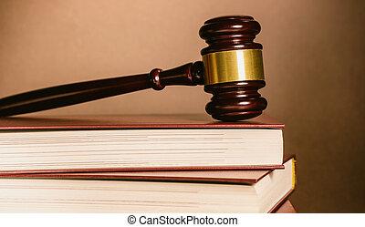 juiz, gavel, com, livros