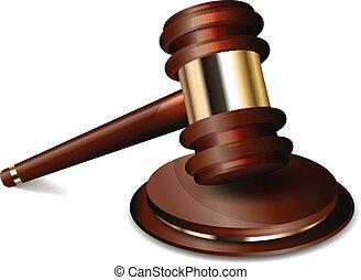 juiz, gavel, vetorial, ilustração