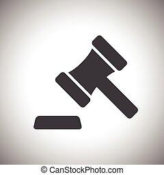 juiz, leilão, martelo, ou, ícone