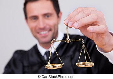 juiz, macho, escala, segurando