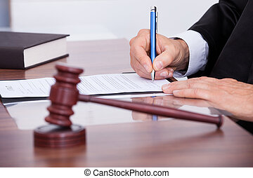 juiz, macho, papel, escrita