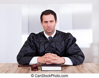 juiz, retrato, macho, sério