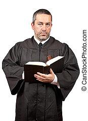 juiz, segurando, a, gavel, e, livro